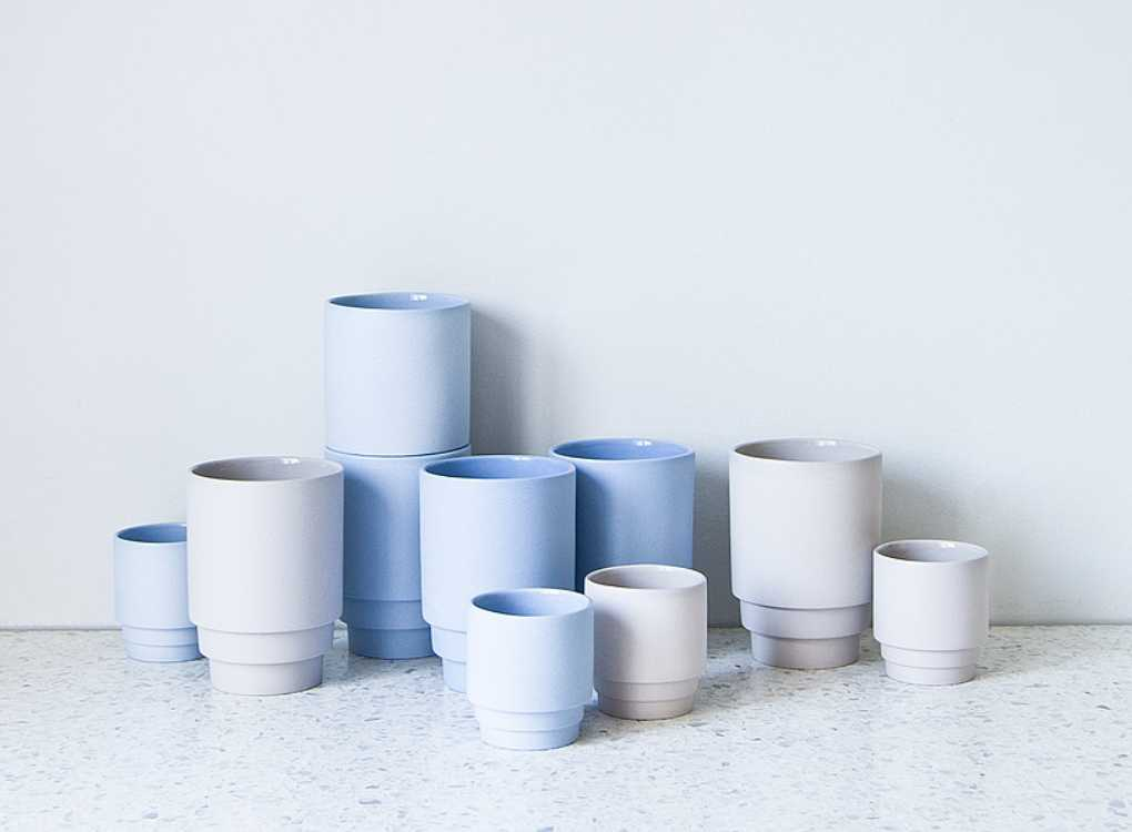 Puik Monday Mugs Blue and Grey Ceramic Coffee and Espresso Cups by MOXON