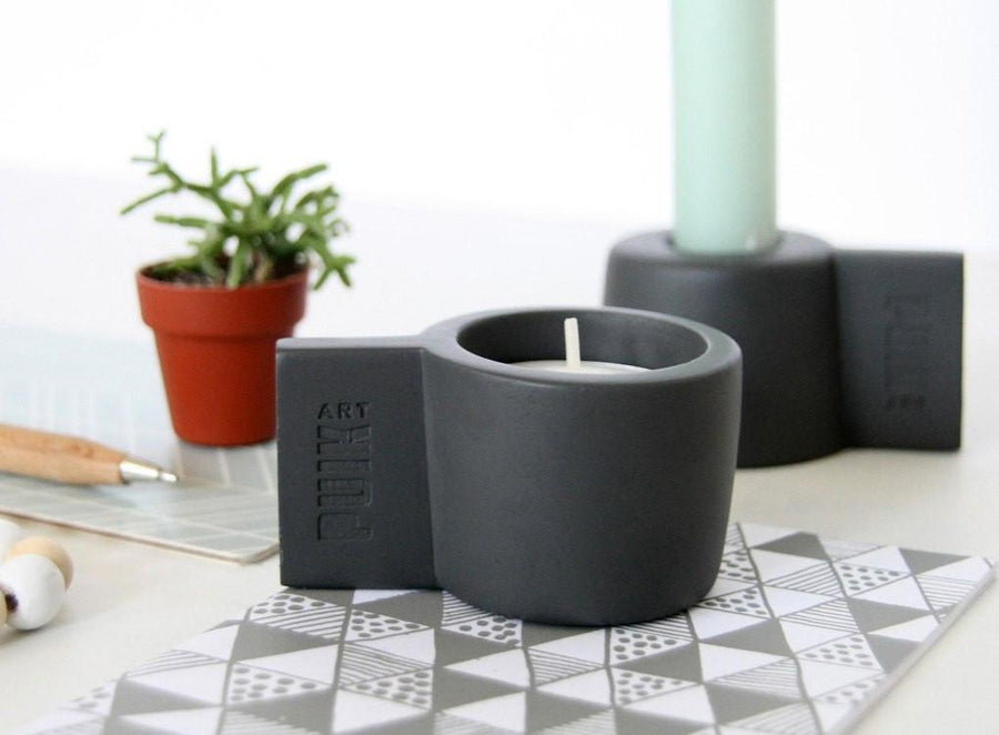 Grey reversible Silly silicone candle holder by Puik Moxon