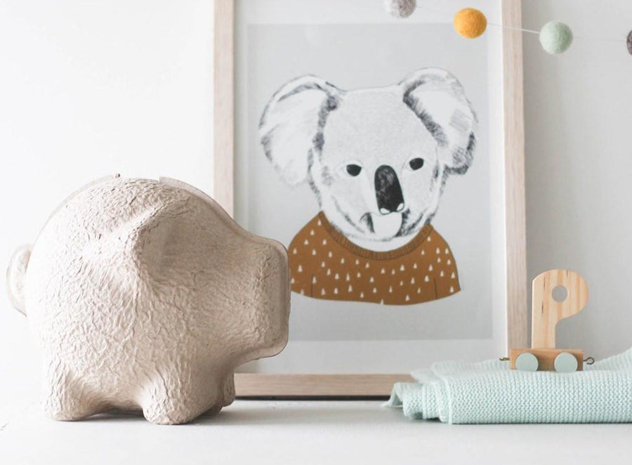Natural tan Tammy quirky piggy bank by Puik for Moxon London