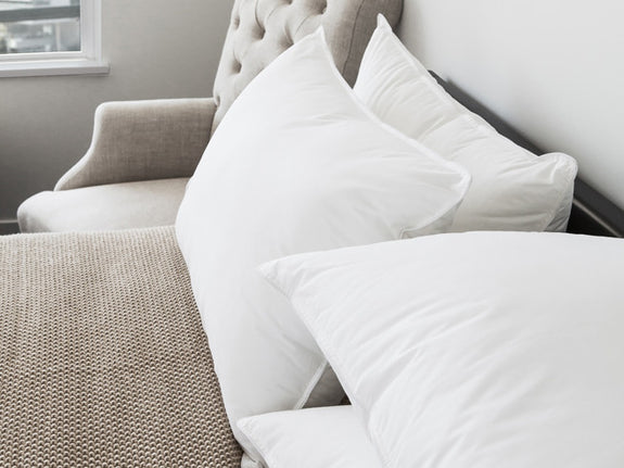 Lifestlye image of our double down pillow placed on bed