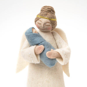 Angel with Newborn Tree Topper - Blue