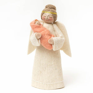 Angel with Newborn Tree Topper - Pink