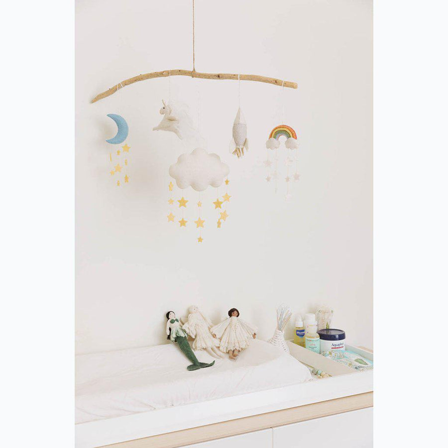 A Craftspring handmade felt twinkle star cloud ornament with strings of hanging yellow stars