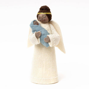 Brown Beauty Angel with Newborn Tree Topper - Blue