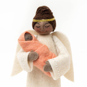 Brown Beauty Angel with Newborn Tree Topper - Pink