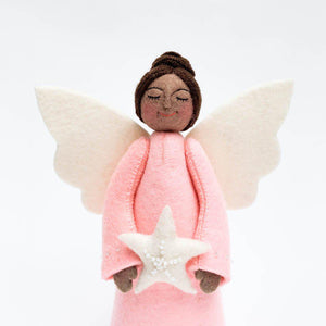 Brown Beauty Touch of Pink Star Angel Tree Topper