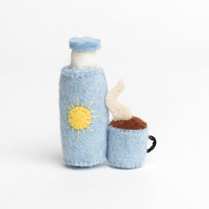 A Craftspring handmade felt blue thermos and mug ornament
