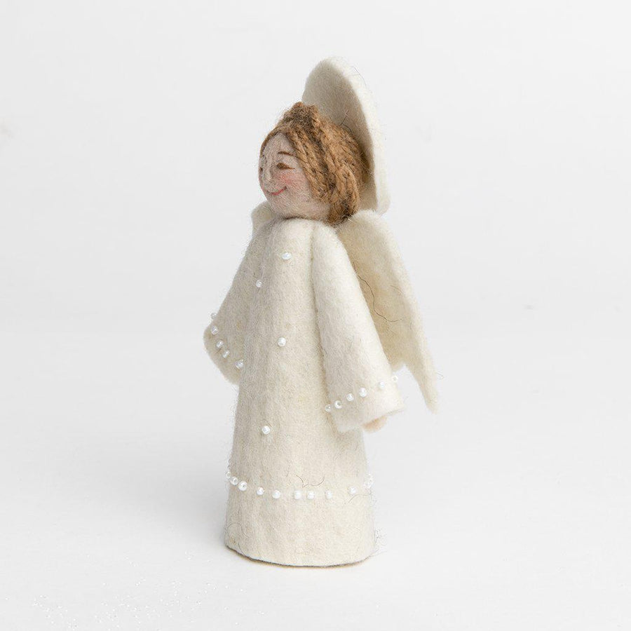 A Craftspring handmade felt angel ornament wearing a white beaded dress with a white halo and white wings