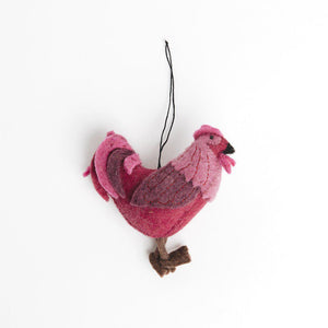 Pink Sun Salutation Rooster Ornament