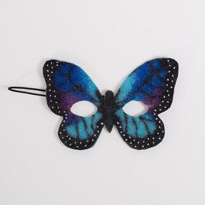 A Craftspring handmade felt blue monarch butterfly mask.