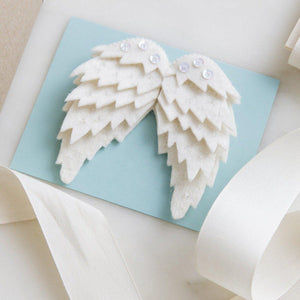 Craftspring handmade felt wings ornament in white with embroidered sequins