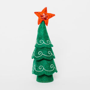 A Craftspring handmade green felt Christmas tree ornament with white embroidery and a red beaded star on top