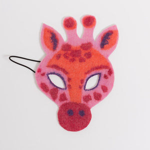 A Craftspring handmade pink felt giraffe mask with red orange and purple markings