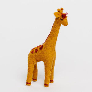 Craftspring handmade felt giraffe ornament in ochre with rust color embroidered spots on back