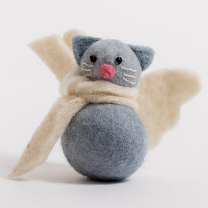 A handmade felt grey kitty angel ornament wearing a white scarf with white angel wings and a pink nose.