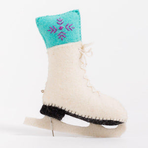 Craftspring handmade white felt ice skate ornament with blue and purple festive sock