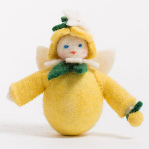 A craftspring handmade felt lemon fairy ornament with a round yellow body a yellow hat and holding a small lemon