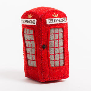 A Craftspring handmade red felt London phone booth ornament