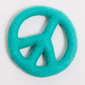 A Craftspring handmade teal felt peace sign ornament