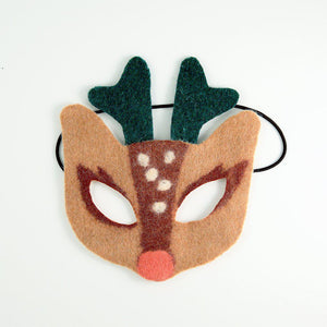 A Craftspring handmade reindeer mask in tan and brown with forest green horns