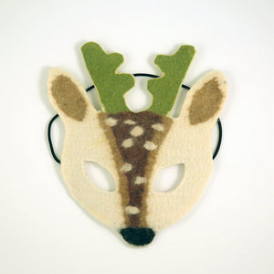 A Craftspring handmade felt white reindeer mask with green horns