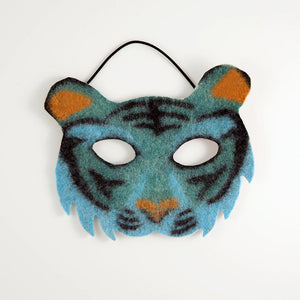 A Craftspring handmade blue felt tiger mask with orange ears and nose