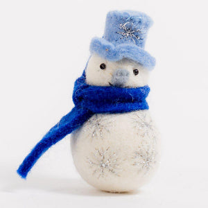 Craftspring handmade felt snowman ornament, light blue top hat and nose, dark blue scarf, adorned allover with silver snowflake embroidery