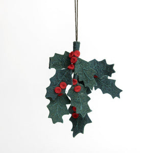 A Craftspring handmade felt holly ornament