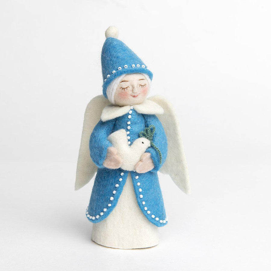 A Craftspring handmade felt frosted night angel wearing a light blue beaded dress and pointy hat and holding a small dove