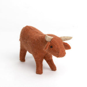 A Craftspring handmade felt brown bull ornament