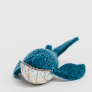 A craftspring handmade felt small blue humpback whale ornament