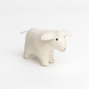 A Craftspring handmade felt sheep ornament with an all white coat