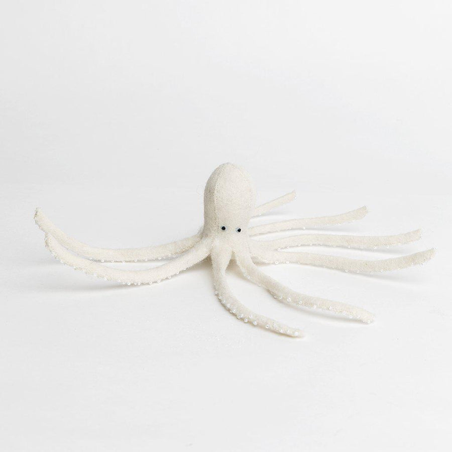 A Craftspring handmade white felt octopus ornament white beaded suckers