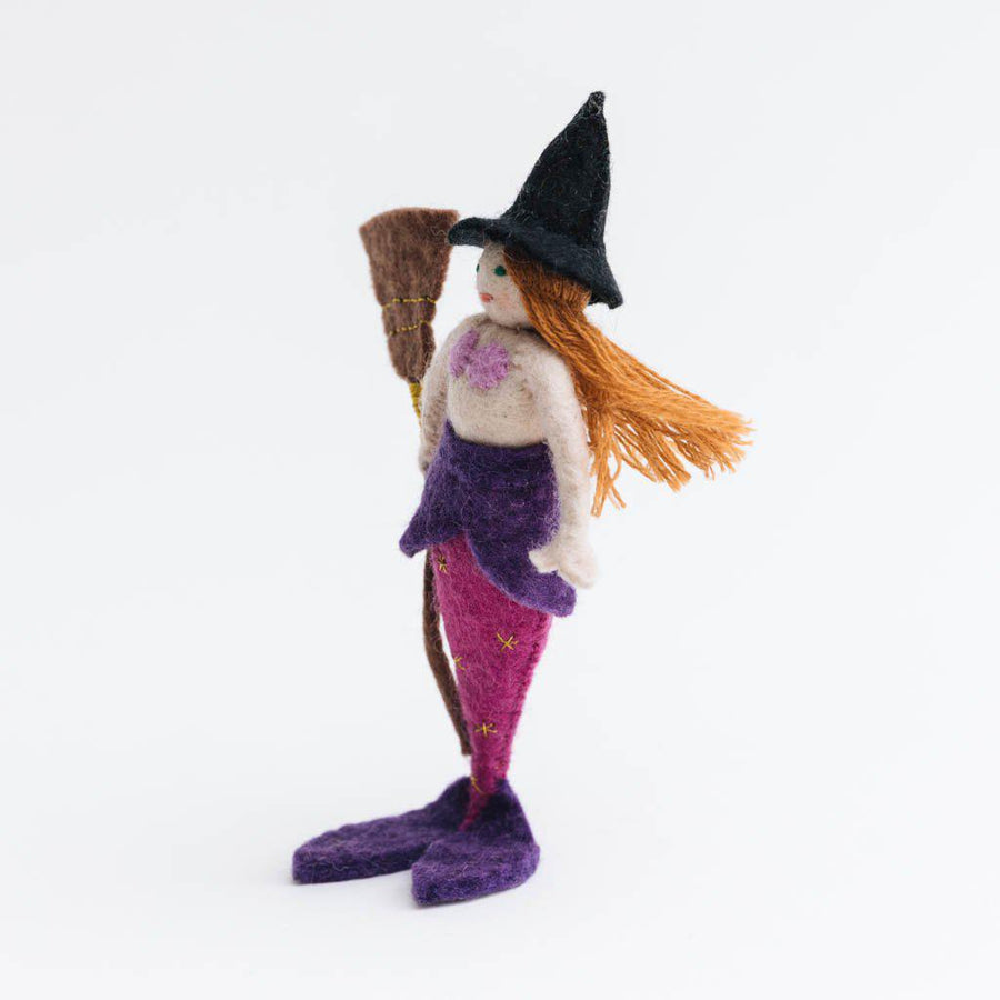 Magical Broomstick Witch Mermaid Ornament