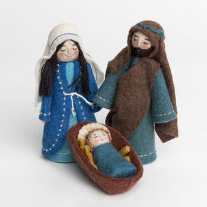 A Craftspring handmade felt Holy Family nativity set