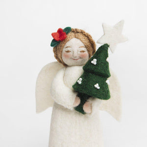 A Craftspring handmade felt angel ornament holding a small Christmas tree
