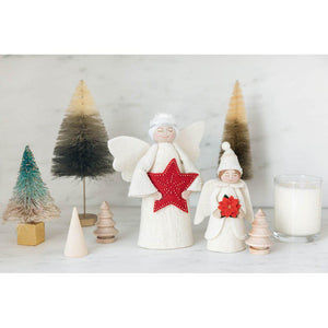 Red Star Angel Topper with White Hair Up