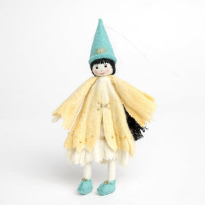 A Craftspring handmade felt princess doll with a yellow gown little teal princess shoes and a pointy teal princess hat with her long black hair in a braid