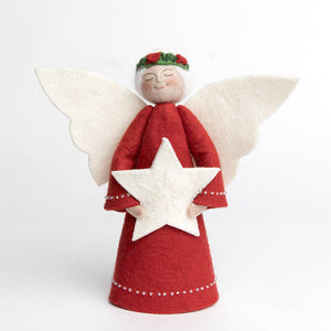 A Craftspring handmade felt angel tree topper wearing a crown of holly with her white hair in a bun, a red gown with white beading and holding a beaded white star