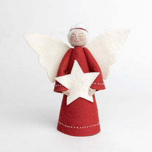 A Craftspring handmade felt angel tree topper wearing a red circlet in her white hair, a red gown with white beading and holding a beaded white star