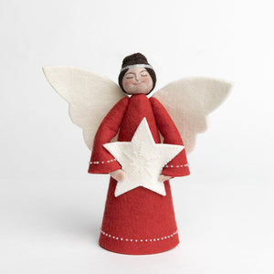A Craftspring handmade felt angel tree topper wearing a silver circlet in her dark brown hair, a red gown with white beading and holding a beaded white star