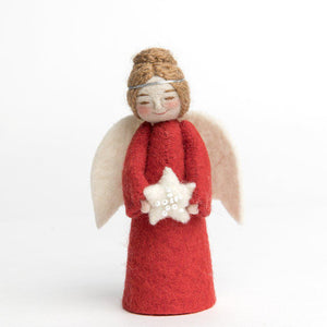 A Craftspring handmade felt angel ornament wearing her brown hair in a bun, a silver circlet, red robes and holding a white beaded star