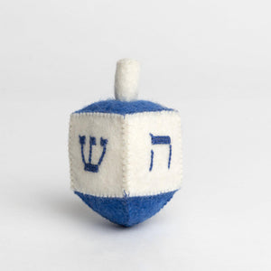 A Craftspring handmade blue and white felt dreidel ornament