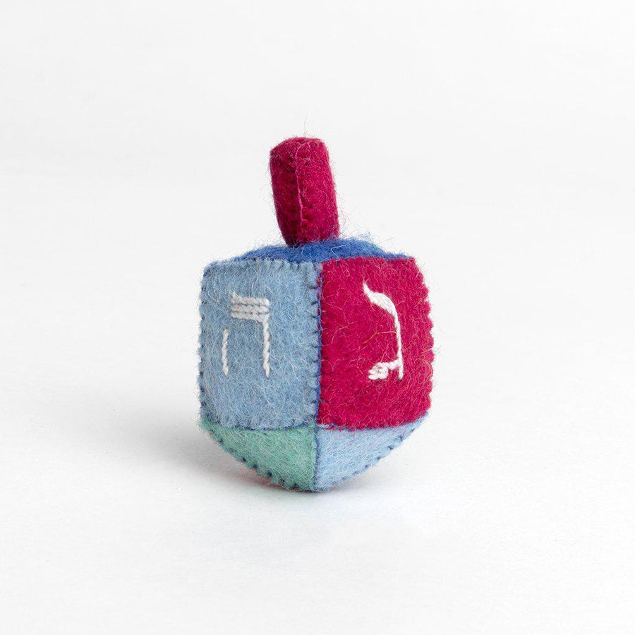 A Craftspring handmade blue green and magenta felt dreidel ornament