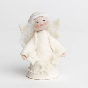 A Craftspring handmade felt starlight angel ornament with long white hair wearing a white dress and holding a string of white stars