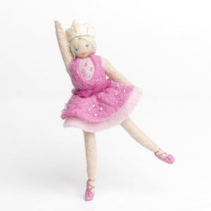 A Craftspring handmade felt sugarplum ballerina ornament wearing a beaded pink tutu, tiara and ballet slippers
