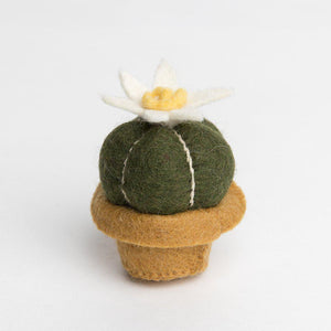 A Craftspring handmade felt sun drop cactus ornament with a little bloom on top
