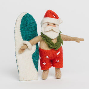 Surf's up Santa Ornament