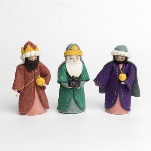 Craftspring handmade felt tree kings nativity set with gold embroidery details
