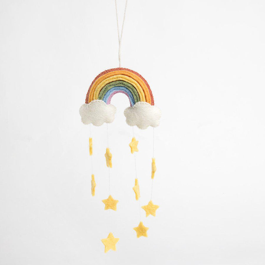A Craftspring handmade felt twinkle star rainbow ornament with strings of hanging yellow stars